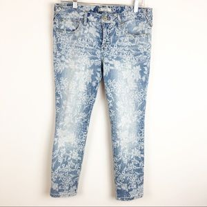 Free People White Flower Print Jeans Size 30